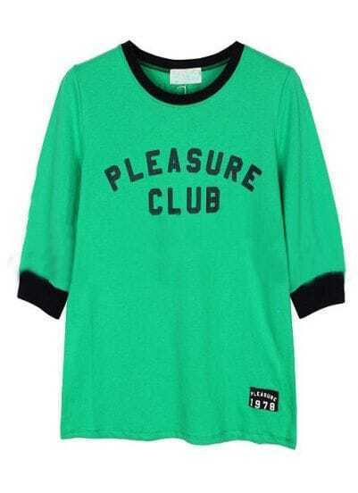 Green Round Neck Contrast Trims Letters Print T-Shirt