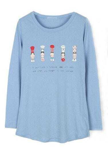 Light Blue Long Sleeve Figure Print Cartoon T-Shirt