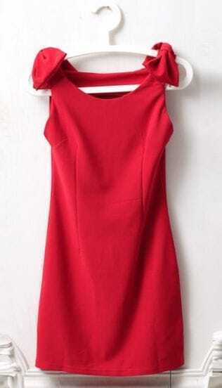 Red Round Neck Sleeveless Shoulder Bow Dress