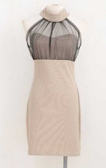 Apricot Halter Strapless Sheer Mesh Yoke Bodycon Dress