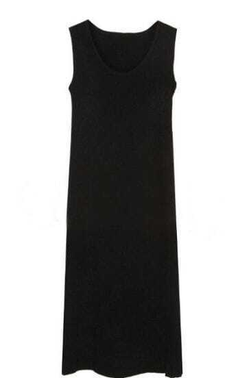Black Round Neck Sleeveless Long Dress