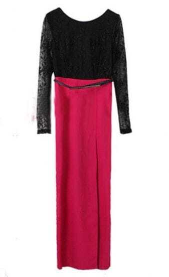 Black Rose Red Contrast Lace Backless Side Split Dress