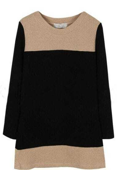 Black Camel Round Neck Long Sleeve Dress