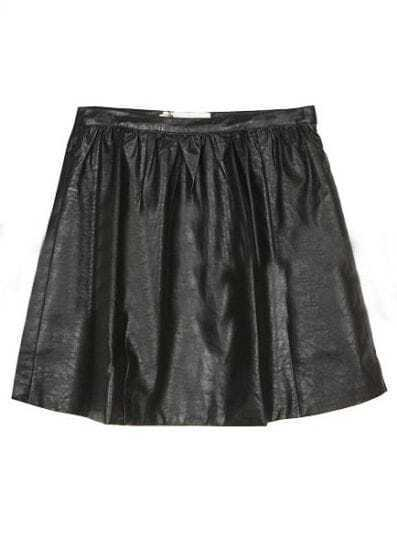 Black Zipper Pocket A Line Leather Skirt