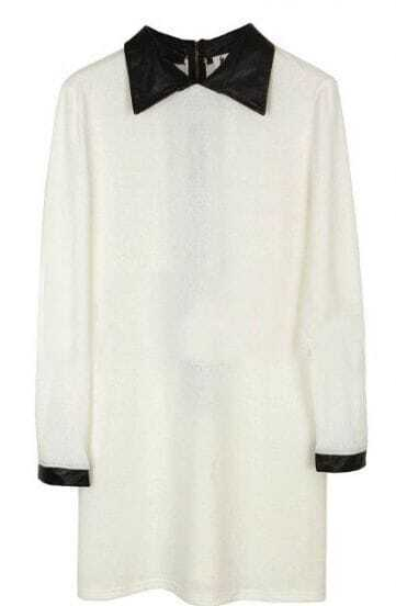 White Contrast Leather Collar Long Sleeve Dress