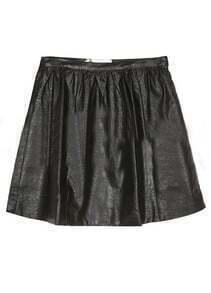 Black Zipper Pocket A Line Leather Skirt
