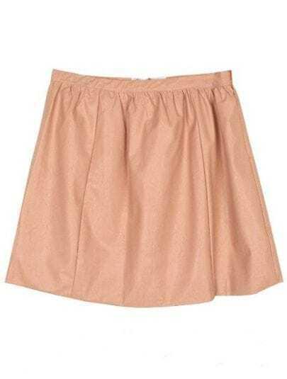 Pink Zipper Pocket A Line Leather Skirt