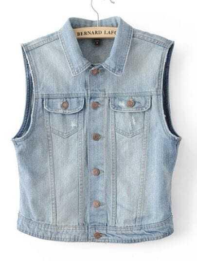 Blue Lapel Sleeveless Ripped Pockets Denim Vest