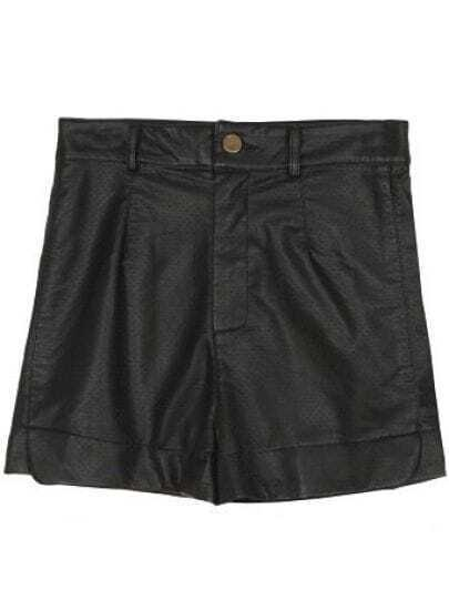 Black High Waist Ripped PU Leather Shorts
