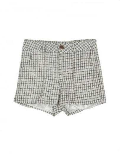 White Mid Waist Button Fly Plaid Shorts