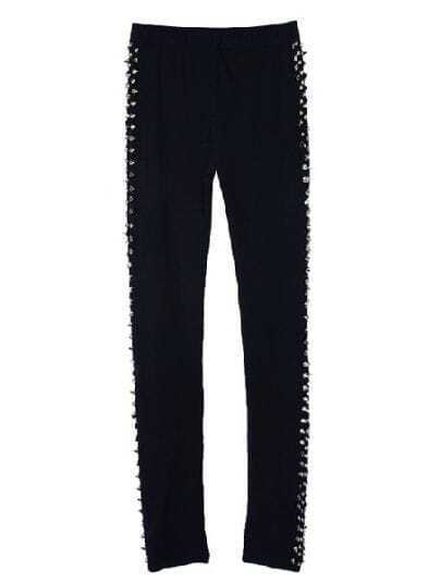 Black Skinny Side Double Rivet Leggings