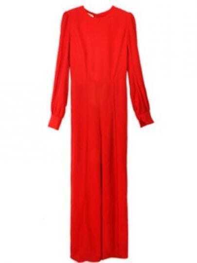 Red Long Sleeve Backless High Waist Jumpsuit