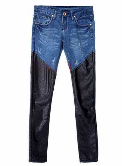 Blue Low Waist Black Contrast PU Leather Denim Pant