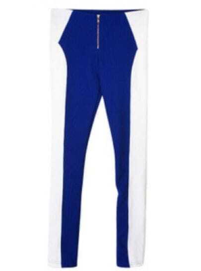 Blue White Skinny Zipper Leggings