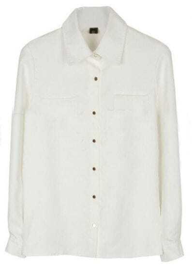 White Lapel Long Sleeve Buttons Pockets Shirt