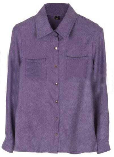 Purple Lapel Long Sleeve Buttons Pockets Shirt