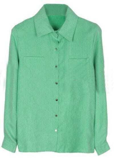 Green Lapel Long Sleeve Buttons Pockets Shirt