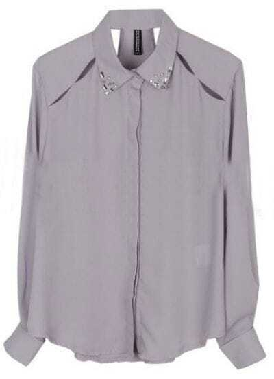Light Purple Rhinestone Lapel Long Sleeve Hollow Shirt