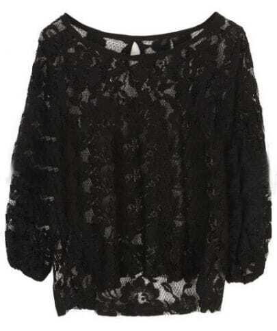 Black Half Sleeve Hollow Embroidery Lace Shirt