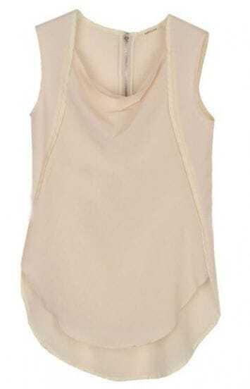 Beige Sleeveless Line Embellished Chiffon Shirt