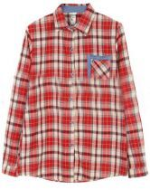 Red Lapel Long Sleeve Plaid Pocket Denim Shirt