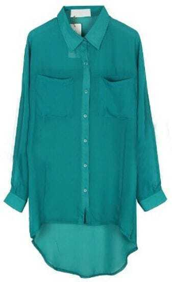 Blue Lapel Long Sleeve Pockets Chiffon Shirt