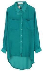 Blue Lapel Long Sleeve Pockets Chiffon Shirt