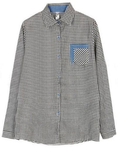 Black White Lapel Long Sleeve Plaid Pocket Denim Shirt