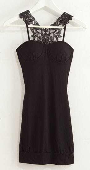 Black Spaghetti Strap Backless Mini Dress