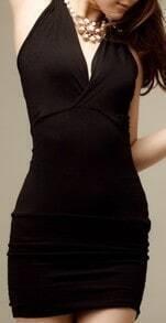 Black Halter Backless Bodycon Dress