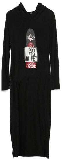 Black Hooded Long Sleeve Girl Print Dress