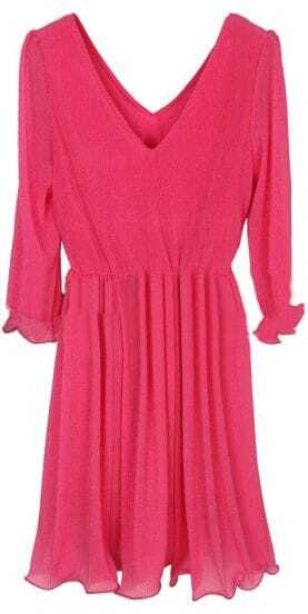 Rose Red V Neck Long Sleeve Pleated Dress