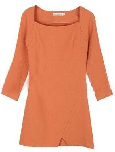 Pink Square Neck Zipper Split Dress