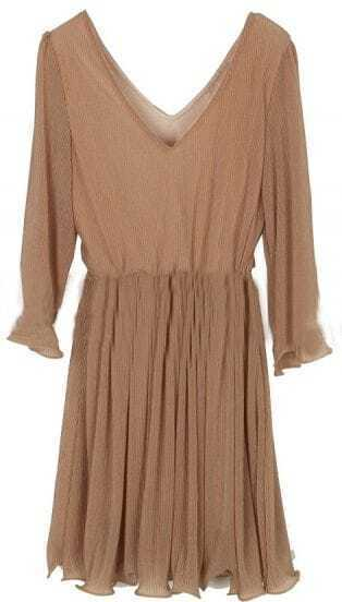 Khaki V Neck Long Sleeve Pleated Dress