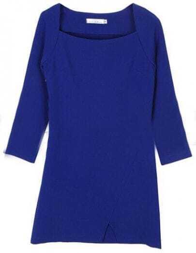 Blue Square Neck Zipper Split Dress