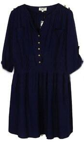 Navy Mid Waist Pleated Epaulet Buttons Embellished Dress