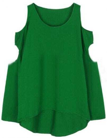 Green Off the Shoulder Hollow Loose T-Shirt