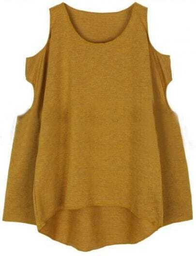Yellow Off the Shoulder Hollow Loose T-Shirt