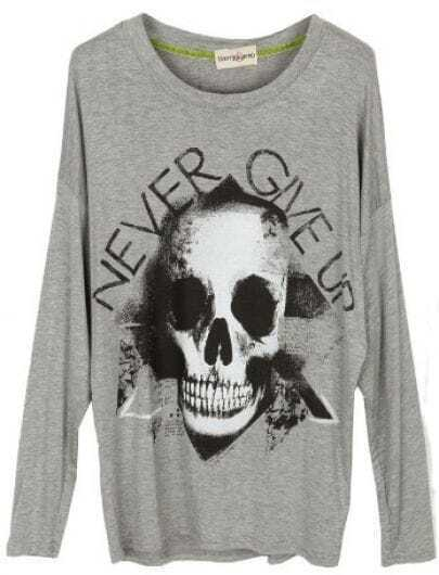 Grey Round Neck Long Sleeve Skull Print T-Shirt