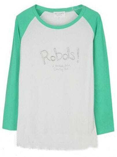 Green Long Sleeve White Letters Print T-Shirt