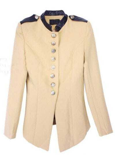 Khaki High Neck Long Sleeve Epaulet Buttons Suit