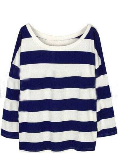 Blue White Striped Long Sleeve Loose T-Shirt