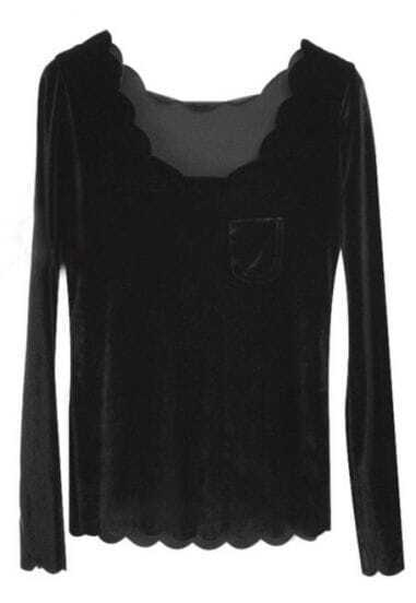Black Round Neck Long Sleeve Zigzag Pocket T-Shirt
