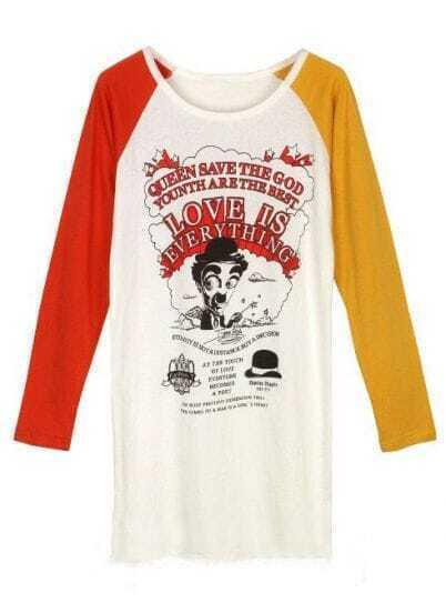White Contrast Long Sleeve Chaplin Print T-Shirt