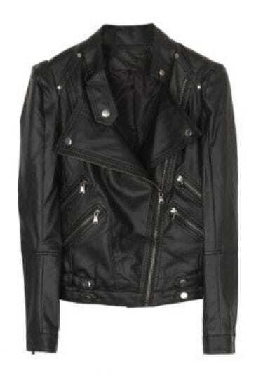 Black High Neck Long Sleeve Zipper Buttons PU Coat