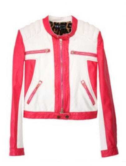 White Rose Red Long Sleeve Zipper PU Leather Coat