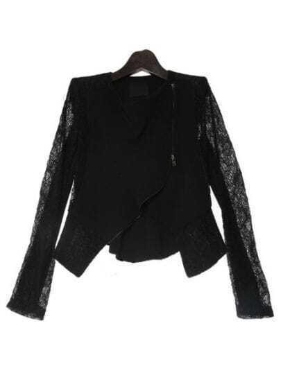 Black Long Sleeve Asymmetrical Crop Lace Coat