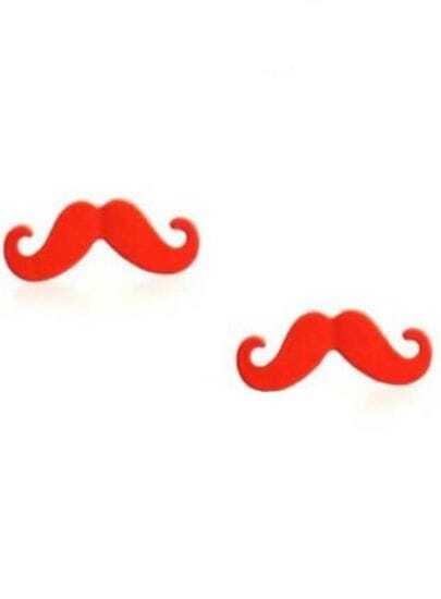 Orange Mustache Stud Earrings