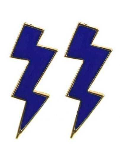 Blue Thunderbolt Stud Earrings