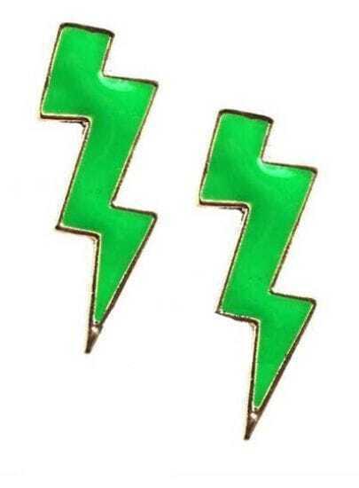 Green Thunderbolt Stud Earrings